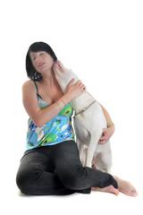 chiot dogue argentin et jeune femme