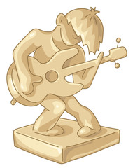 Golden statuette of the guitar player.