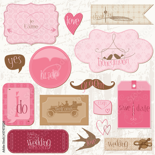Romantic Wedding Tags and Design Elements -for invitation, scrap