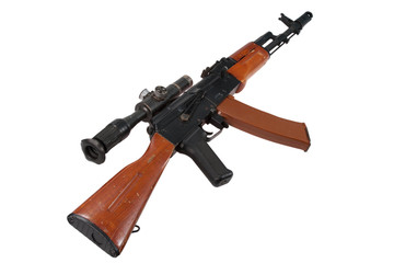 kalashnikov assault rifle ak with sniper scope