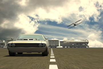 Retro car, train and aeroplane