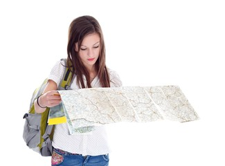 Girl reading map