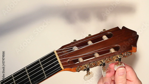 Classical guitar tuning  X closeup