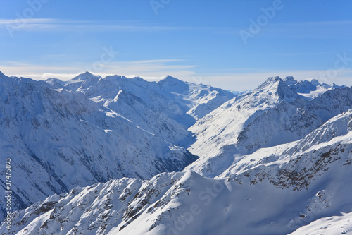 Mountains under snow in the winter. Alps. Solden. Austria