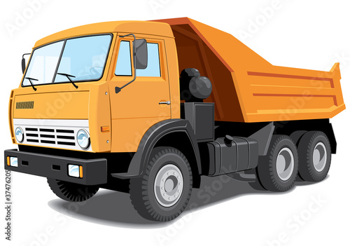 Vector isolated dump truck without gradients