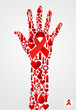 Hand symbol with AIDS icons