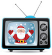 vector santa claus in retro tv set