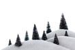 Décor monatgne de neige poudreuse et sapins