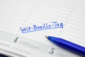 Welt-Braille-Tag Termin im Kalender notiert