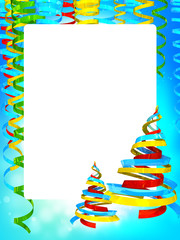Frame of Christmas background with serpentines