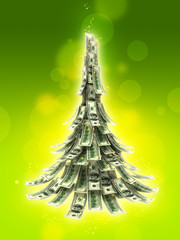 Dollars banknotes made as Christmas tree on green background