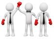 Boxing Referee choosing the winner between two businessmen