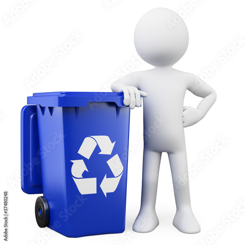 3D man showing a blue bin for recycling