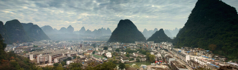 Yangshuo cityscape panorama