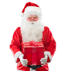 Santa Claus With Gift isolated on white