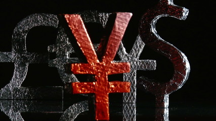 Currency symbols, yen red front, dolly rotate