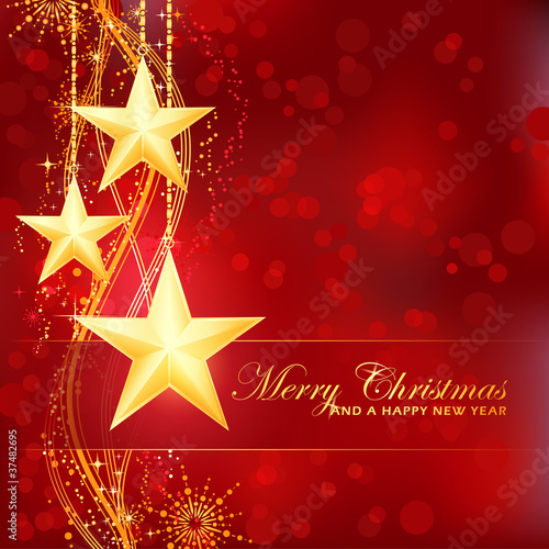 Golden Merry Christmas stars on red bokeh background