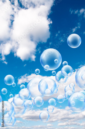 floating bubbles in sky