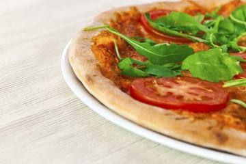 Pizza Margherita with arugula