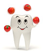 3d tooth juggling with red apples