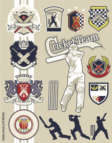 Cricket badges and elements