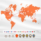 Map with flight infographics: flags and icons
