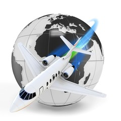 3d airplane with earth glob