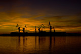Lovely sunset and the shipyard cranes