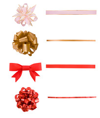 Holiday red and golden bows set