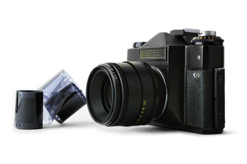 Classic manual SLR camera with film