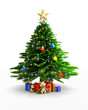 Christmas tree with gifts isolated on white background.