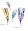 euro banknotes crash on white background