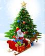 Santa claus with his sleigh near christmas tree.