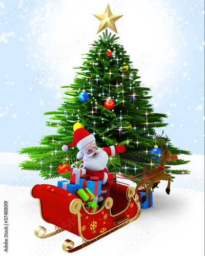 Santa claus with his sleigh near christmas tree.