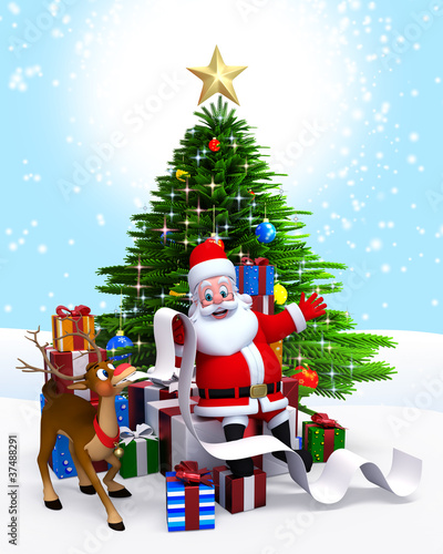 Santa Claus & Christmas tree with gift list.