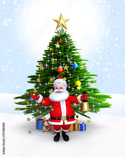 Santa Claus with bell & standing in-front Xmas tree
