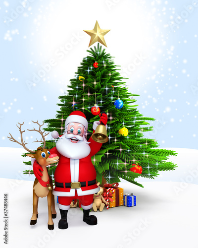 Santa with reindeer standing near Christmas tree.