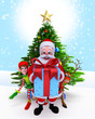 Santa Claus with a big gift box with reindeer and Elves