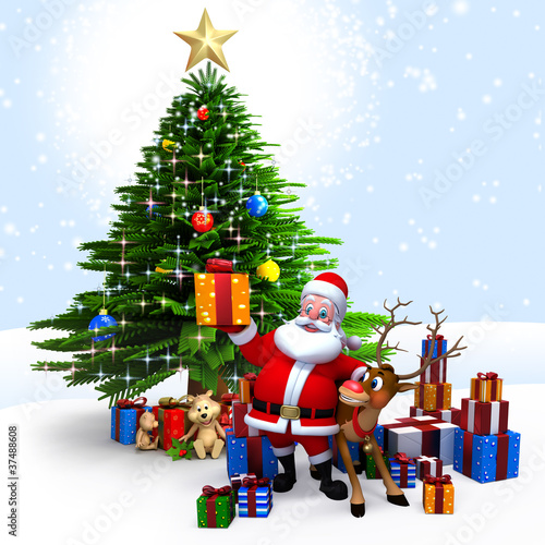 Santa Claus with his reindeer & gifts in front of Xmas tree.