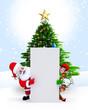Santa, Elves & reindeer with sign .