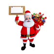 Santa CSanta Claus with wooden sign board  and a lots of gifts.