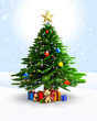 Christmas tree with gifts and teddy