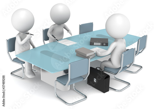 3D human X3 signing papers. Business People series.