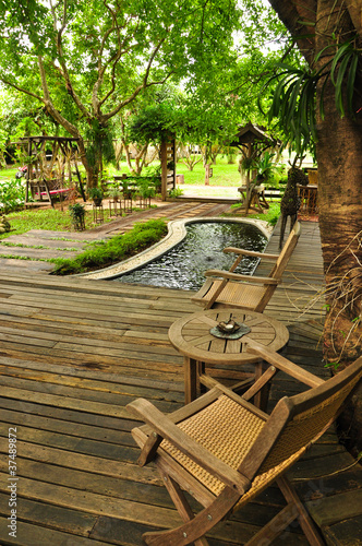 Relaxing in a Thai styled living area, rural villa