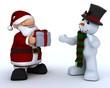 Santa Claus Charicature and snowman
