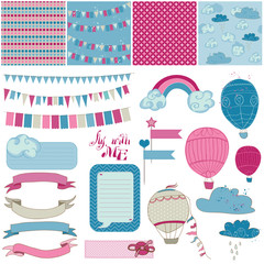 Scrapbook Design Elements - Party, Balloons and Parachute