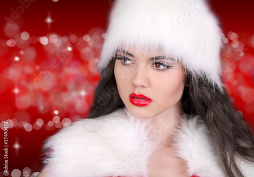 Sexy lady with red lips on red  bokeh abstract