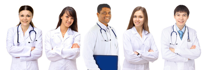 A group of good doctors. Isolated on a white