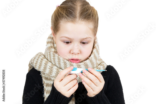 Sick girl with thermometer isolated on white background