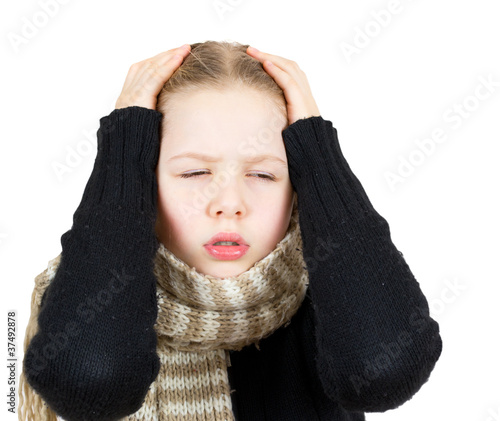 Girl with headache isolated on white